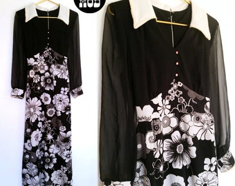 Lovely Vintage 60s Black and White Floral Party Maxi Dress with Sheer Sleeves!