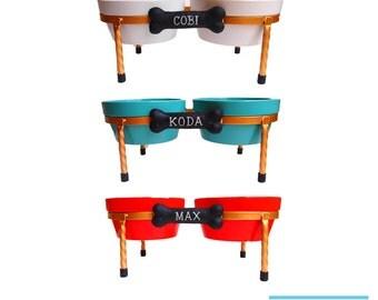 Raised Dog Bowls - Diner - Ceramic dog bowls - Pet Bowls with Gold metal Stand - turquoise - Red - White - Doggie Diner - Dog Bowl Set