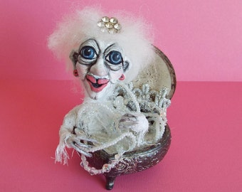 Halloween Ghost Doll Queen of Jewels Halloween Décor Halloween Collectible OOAK Sculpture Handmade by LLA Creations