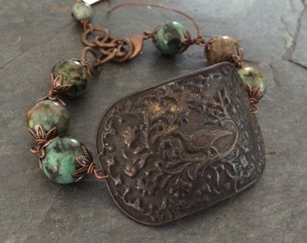 Dark Copper Oxidized Peacock Focal Peacock Cuff with African Turquoise  Beads