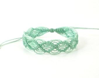 Mint green string bracelet. Mint beach bracelet. Waterproof surf bracelet. Mint green jewelry. Mint cord bracelet. Boho jewelry. Pura Vida