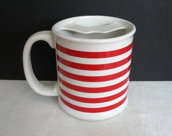 Vintage Red and White Striped Mustache Mug