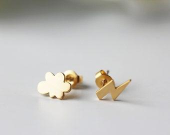 Tiny Cloud & Lightning Bolt Studs Matte Gold Dainty Modern Everyday Earrings