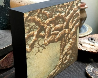 Original Mounted OOAK Woodblock Tree No. 21 Print - Hand Pulled Fine Art Print - Ready To Hang Wall Art Tree