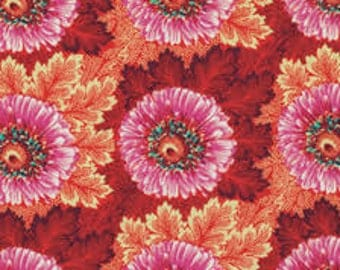 Amy Butler's Hapi, Sunflowers, Coral, 1 yd.
