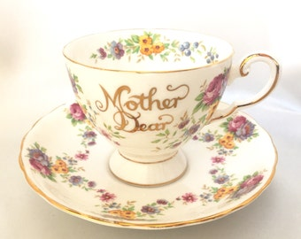 Tuscan England Mother Dear bone china tea cup and saucer