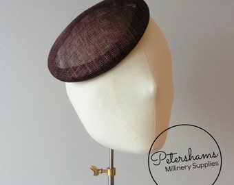 16cm Round Sinamay Button Fascinator Base Sinamay Millinery Fascinator Hat Base - Chocolate Brown