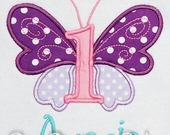 Girl's Butterfly 1st Birthday Shirt, Butterfly Kisses Birthday Shirt or Bodysuit, Custom Butterfly Birthday Shirt or Bodysuit