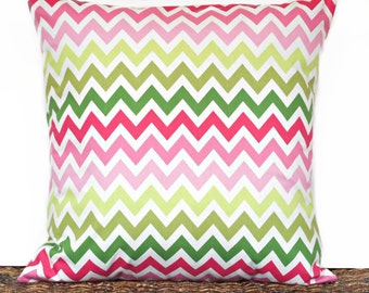 Chevron Pillow Cover Cushion Pink Rose Raspberry Lime Green Olive Green White Decorative Summer Spring 18x18