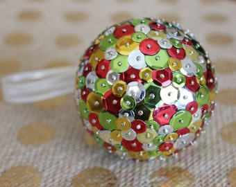 Sequin Christmas Ornament | Red, Green, Silver, & Gold Sequin Ornament | Traditional Christmas Decorations