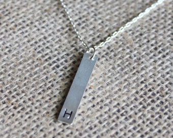 Custom Letter Bar Pendant | Hand-stamped Initial Charm | Personalized Jewelry | Stamped Jewelry