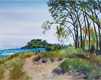 Original Landscape Oil Painting - 24x18in Lighthouse Beach Evanston Plein Air Painting