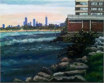 Plein Air Chicago Cityscape Original Oil Painting  - 20x16