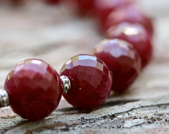Ruby Necklace - Precious Stone Jewelry - Ruby and Gold - Ruby Jewelry - July Birthstone - White Gold Necklace - Graduated Bead Necklace