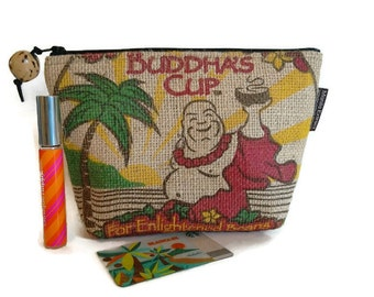 MTO. Buddha's Cup Burlap Pouch. Repurposed Kona Coffee Bag. Handmade in Hawaii.