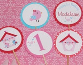 Bird Cupcake Toppers - 24 Red, Aqua, Pink, Pink Bird Birthday Decorations, Valentine's Day Cupcake Toppers