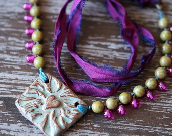 Colorful Tribal Necklace - African Dance Necklace - Pink and Olive - Sari Silk Necklace - BOHO - Bead Soup Jewelry