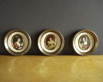 Famous Ladies - Three Small Round Vintage Frames - Vintage Victorian Prints