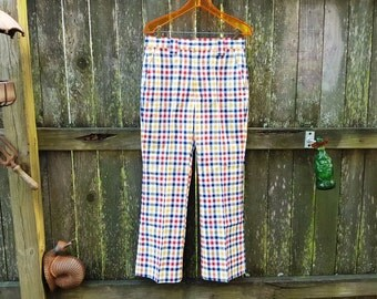 35% OFF Mens 70s Plaid Pants / 70s Pants by Haggar / 70s Costume / Mens Vintage Pants / Hipster Pants Waist 31