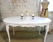 Painted Cottage Chic Shabby White French Dining Table TBL71
