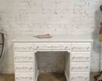 Painted Cottage Chic Shabby White Romantic French Desk DK287