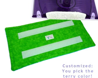1+ Reusable Pad for WetJet type mops, LIME TONAL w Scuba Terry, Washable WetJet Pads, Reusable WetJet EcoGreen Pad, EcoFriendly Pads