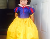 New Snow white Inspired Costume Birthday girl toddler princess dress and headband size 2 4  6 8 ready to ship today