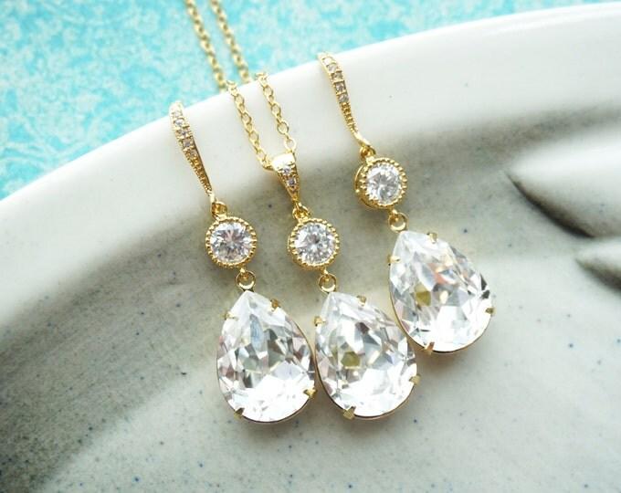 Elvina  - Silver Swarovski Teardrop Crystal Earrings Necklace, Bridesmaid earrings, Bridal Wedding Jewelry, Swarovski Crystal Drops