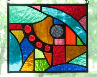 Abstract Geo Stained Glass Suncatcher VII 7 x 6