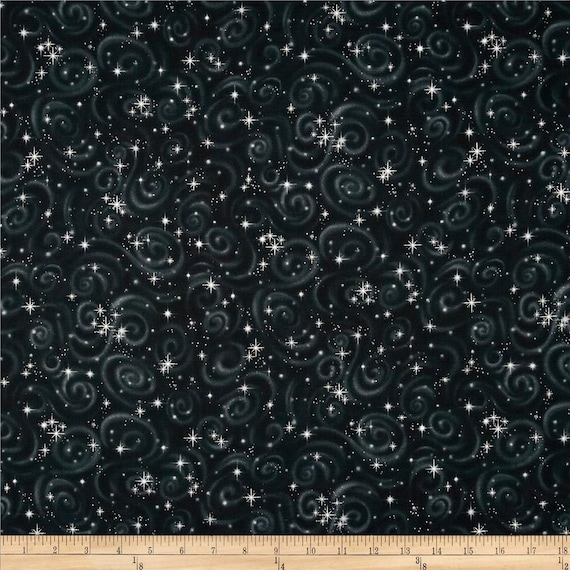 Robert kaufman stargazers black metallic star swirls for Space themed fabric