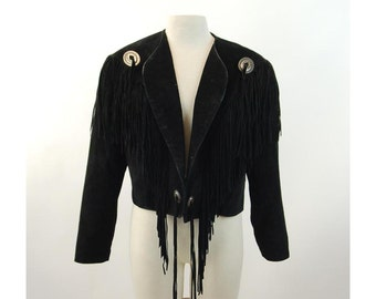 1980s black suede jacket with fringe and conchos Scully biker jacket cropped jacket Size L
