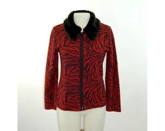 Animal print jacket zip up knit red black fur collar Maggie London Size M