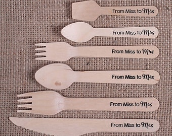 """Wooden Utensils, """"From Miss to Mrs"""" Stamped Utensils, Bridal Shower Utensils, Wooden Spoons, Disposable Utensils, Cutlery Set (18 ct)"""