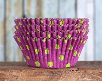 Purple Cupcake Liners with Lime Green Polka Dots, Purple Cupcake Wrappers, Cupcake Liners, Muffin Cases, Purple Baking Cups (50)