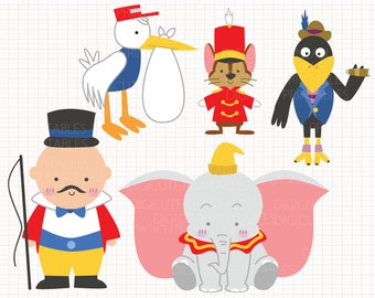 Disney Inspired Dumbo Digital CLIP ARTS personal and commercial use for invitations, cupcake toppers, cards, party supplies