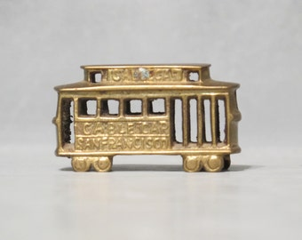 Brass Miniature San Francisco Cable Car / SF Market Street Vintage Little Trolley Car Tiny 3D Street Car Figurine Electric Train Shadow Box