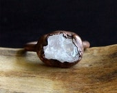 Morganite Ring, Copper Gemstone Ring, Raw Crystal Ring, Beryl Ring, Ring Size 6.5, Copper Morganite Ring, Crystal Ring