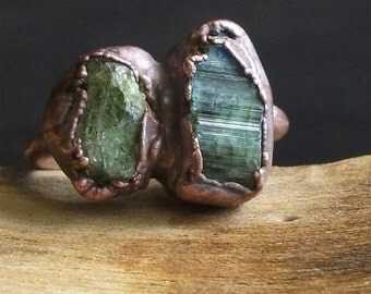 Tourmaline Rough Stone Jewelry Dual Stone Size 6.5 Green Natural Ring Raw Crystal Gemstone Copper Ring