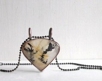 Quartz Necklace Rough Stone Copper Jewelry Crystal Gemstone Agate Stone Pendant Artisan Handmade