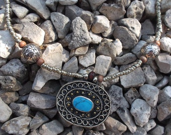 Pendant Kuchi Tribal Necklace. Turquoise colour stone. Hand made.