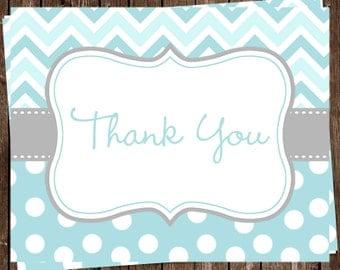 Thank You Cards, Baby Boy, Shower, Sprinkle, Aqua, Gray, Birthday, Chevron, Stripes, Polka Dots, 24 Folding Notes, FREE Shipping, CSDBB