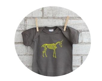 Baby One-piece, Unicorn Skeleton  Bodysuit,  Grey, Short Sleeved, Yellow Screen-print, Gray Romper, Hand Printed, Fantasy Animal, Punk Rock
