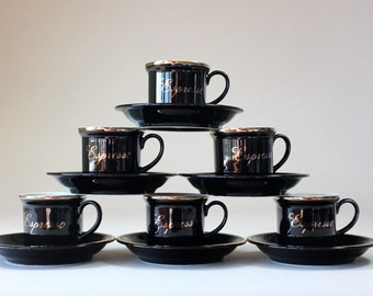 Espresso Set, Cup & Saucer Set, Black White, Gold Trim, Demitasse Cups Saucers, Set of 6, Villaware Espresso , Made In Japan