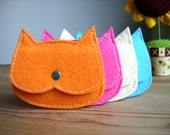 Set of 4 bright color cat pouches,Kids Party Gifts,kids coin purse, tiny pouch,kids gift idea,favor bags, felt Cat wallet,vegan pouch