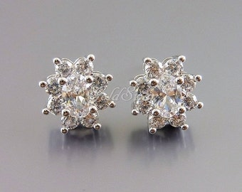 2 pcs Clear Cubic Zirconia flower stud earrings, CZ crystal earring findings, silver flower earrings 2060-BR