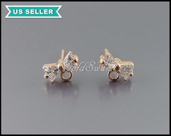 4 pcs (2 pairs) high quality rose gold Cubic Zirconia bow earrings, ribbon earrings in clear & rose gold, E1834-BRG