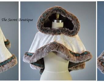 capelet-velvet-faux fur-viking-bride- ready to ship-cape-alternative-the secret boutique-fairytale-steampunk-outlander cape-cospla