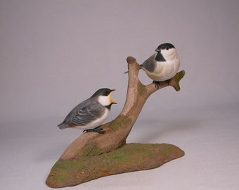Black-capped Chickadee & a Baby Bird Carving wood