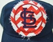 ADULT Baseball Raggy St. Louis Cardinals Red Chevron Navy Blue STL Monogrammed Hat