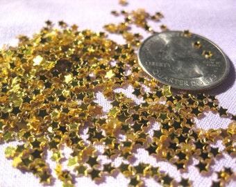 Gold tiny shiny stars 3mm 2000 pieces sparkling loose glitter shaker pockets flip books scrapbook ship from USA